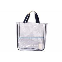 Bolsa Transparente Con Bolsillos Externos Bordes Azul