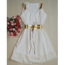 Vestido Feminino Curto Cintura Marcada Com Cinto D Festa