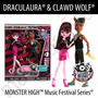 Monster High Draculaura Y Clawd Wolf Pack Music Festival