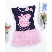 Vestido Disfraz Peppa Pig Nena Tull, Estampado 1° Calidadad