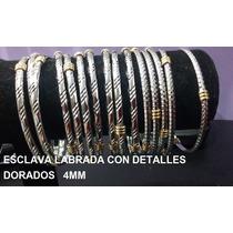 6 Esclavas Labrada Detalle Dorado Acero Quirurgico $50,00