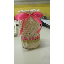 Frasco Decorado Con Funda Tejida A Crochet Y Decoupage