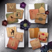 Invitaciones Vintage Kraft + Tarjeta + Sobre | Casamientos