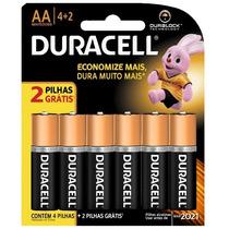 Pilha Alcalina Duracell Aa Com 6 Unidades