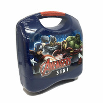 Avengers Valija 3 En1 Juego Encastre Rompecabezas Lunchera