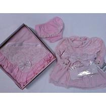 Kit Saida Maternidade 4 Peças Bebê Menina Paraiso - Vestido