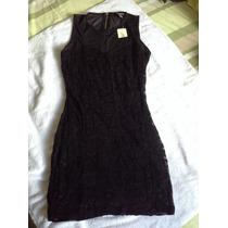 Vestido Negro De Torchon Transp En Hombros. Forever 21. M