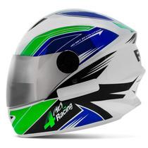 Capacete 4 Racing Verde Azul Pro Tork Viseira Cromada Moto