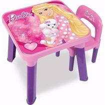 Mesa + 2 Cadeira Barbie + Barraca Sem Bolinha Barbie