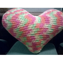 Almohadones Corazón Tejido Al Crochet A Pedido Los Colores