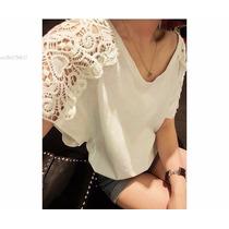 Blusa Camisa Mujer Algodon Y Crochet