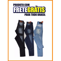 Kit 3 Calça Jeans Masculina Azul Slim Skinny, Ótimo Tecido!