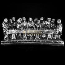 Santa Ceia Prata Envelhecido Religioso Decoração Mesa 25 C