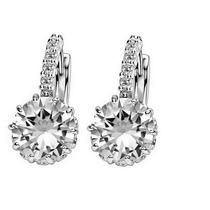 Brinco Prata 925 Feminino Diamante Cristal Swarovski Argola