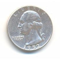 Moneda Un Cuarto De Dolar 1952 Plata Excelente