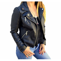 Campera Cuero Eco Mujer Costuras The Big Shop