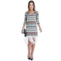 Vestido Tribal Com Franjas - Kam Bess - Ve1036