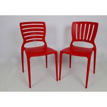 02 Cadeira Sofia Com Encosto Vazado Cor Vermelha Tramontina