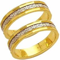 Par Aliança Casamento Bodas Prata Trabalhada Ouro 18k-al 115