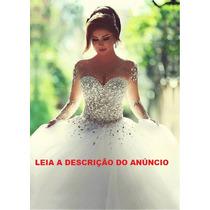 Vestido De Noiva Manga Longa Modelo Princesa Cristal