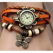 Reloj Brazalete De Piel Con Dije Mariposa De Metal