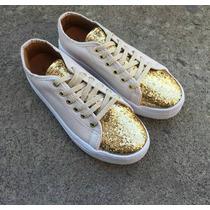 Tênis Feminino Branco Com Dourado/prata Glitter Sapatênis,