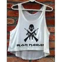 Blusa Cropped Iron Maiden Rock Metal Eddie Feminina Regata