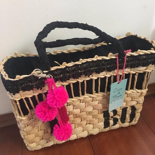 Bolsa de praia de palha dourada : Bolsa de palha pompom praia personalizada iniciais boho p