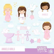 Kit Imprimible Angelitos Bautismo Nena 9 Imagenes Clipart