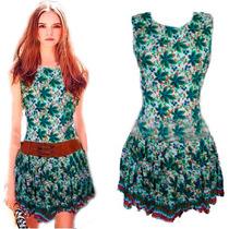 Vestido Folhagem De Viscose Estampado Curto Vestidos Online