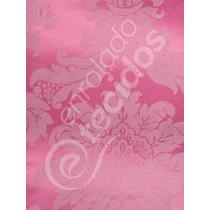 Tecido Jacquard Rosa Pink Chiclete Medalhão 5m X 2,8m