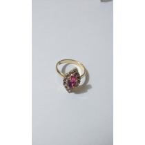 Anel Feminino Banhado Ouro 18k Pedra Zirconia Rosa Tam 16.