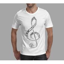 Camiseta Musica Instrumento Musica Clave De Sol Frete Grátis