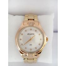Relógio Feminino Atlantis Dourado Luxo (pronta Entrega )