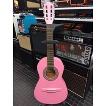 Guitarra Clásica Gracia Modelo Niño Para Chicos Color Rosa
