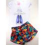 Kit Conjunto Shorts Saia Menina Bebê Baby+brinde-1 A 2 Anos
