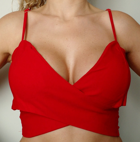 4832d9ae5 Top Cropped Blusa Feminina Alça Sem Bojo Sutiã Vermelho - R  40
