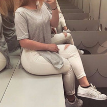 Roupa Feminina Camiseta Cinza Mesclado Sexy Moda Swag