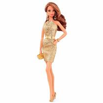 Barbie Colecionável - Tapete Vermelho Vestido Dourado Cfp36