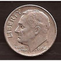 Moneda De Plata 1964 Estados Unidos 1 Dime Usada