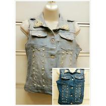Colete Jeans Feminino Curto Com Perola Oferta