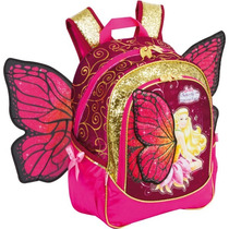 Mochila Escolar Barbie Butterfly Md 3bolsos Sestini Original