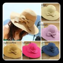 Hermoso Sombrero Playa Elegante Para Mujer 5 Colores