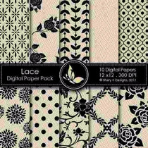 Kit Imprimible Pack Fondos Negro Y Crema Clipart