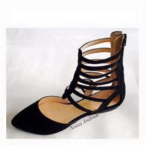 Sandalia Baixa Gladiadora Bico Fino Preto Marca Leluel Shoes