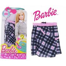 2roupa Fashion Barbie Original Mattel Saia Xadrez Novo Dhh47