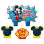 Vela De Aniversário Mickey Mouse 04peças No Pacote
