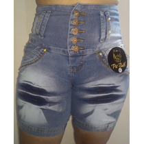 Bermuda Jeans C/ Lycra 5 Botões Cós Alto Estilo Pit Bull