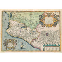 Lienzo Tela Mapa Costa Pacífico Mexico 1579 50x72cm Poster