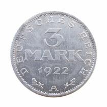 Moeda 3 Mark 1922 Deutsches Reich Alemanha